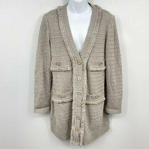 St. John Collection Cardigan M Wool Fringe Gray